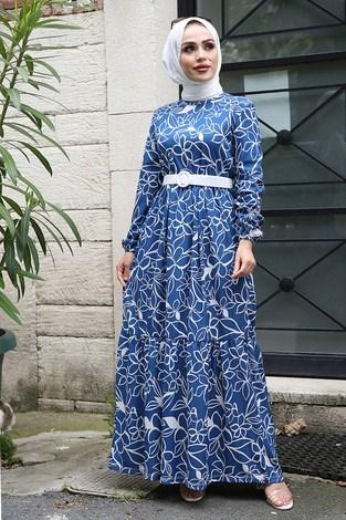 - Çiçek Desenli Elbise 4445-2 İndigo