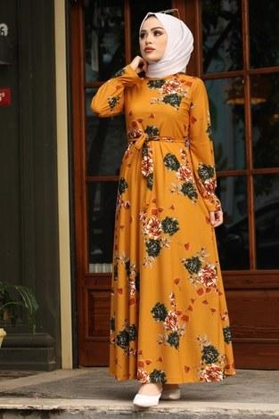 - Çiçek Desenli Elbise 4452-10 hardal
