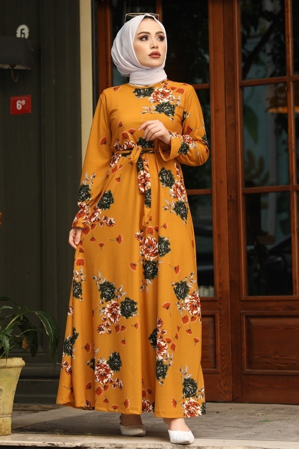 Çiçek Desenli Elbise 4452-10 hardal