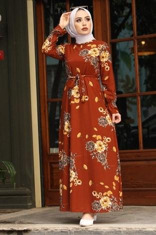 - Çiçek Desenli Elbise 4452-11 kiremit
