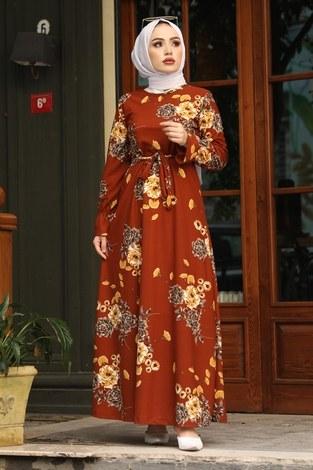 Çiçek Desenli Elbise 4452-11 kiremit - Thumbnail