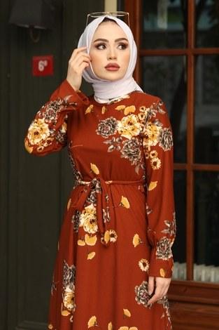 - Çiçek Desenli Elbise 4452-11 kiremit (1)