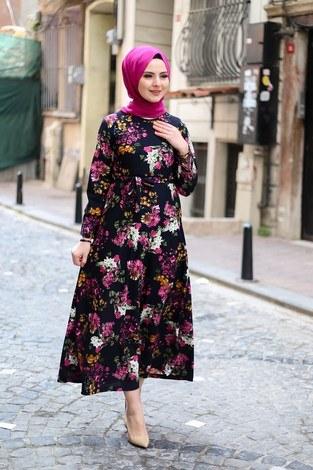 Çiçek Desenli Elbise 4452-4 Lacivert - Thumbnail