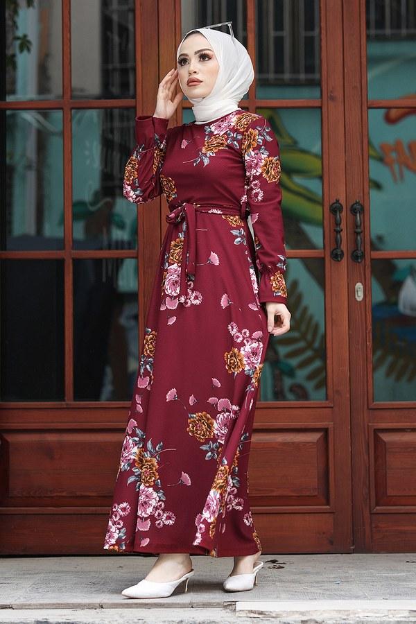 Çiçek Desenli Elbise 4452-44 Bordo
