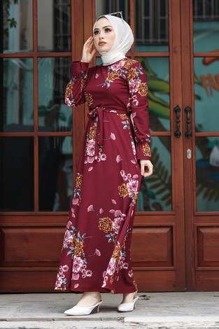 Çiçek Desenli Elbise 4452-5 Bordo - Thumbnail