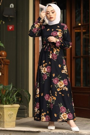 Çiçek Desenli Elbise 4452-7 lacivert - Thumbnail