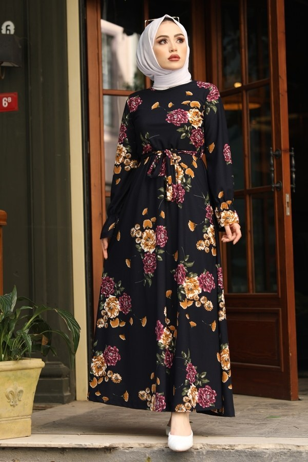 Çiçek Desenli Elbise 4452-7 lacivert