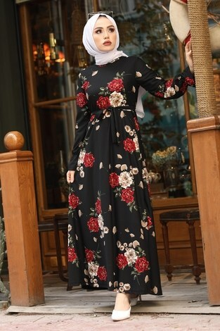 - Çiçek Desenli Elbise 4452-9 siyah