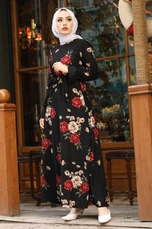 Çiçek Desenli Elbise 4452-9 siyah - Thumbnail