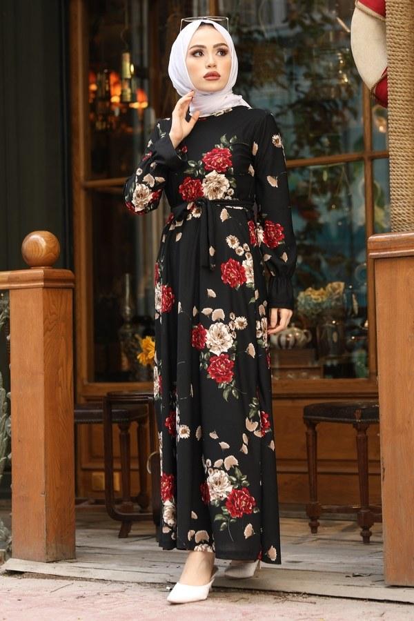 Çiçek Desenli Elbise 4452-9 siyah