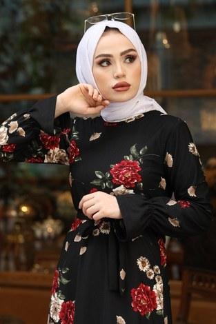 - Çiçek Desenli Elbise 4452-9 siyah (1)