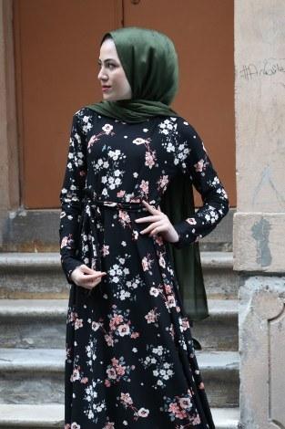 - Çiçek Desenli Elbise 7586-04 (1)