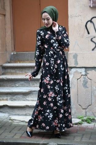 - Çiçek Desenli Elbise 7586-04