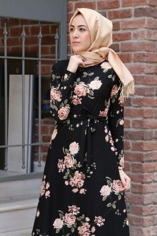 - Çiçek Desenli Elbise 7586-07 (1)
