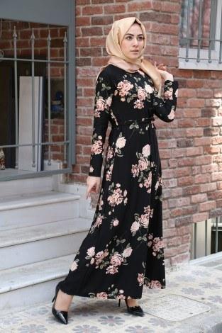 - Çiçek Desenli Elbise 7586-07