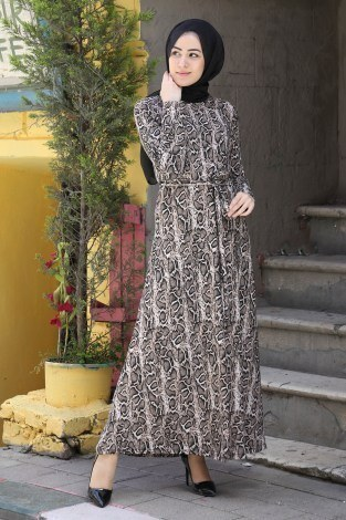 - Desenli Elbise 8508-300
