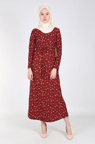 - Çiçek Desenli Elbise 8508-02