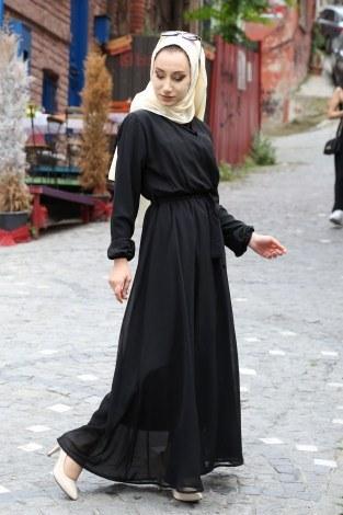 Kruvaze Yaka Şifon Elbise 3010-01 - Thumbnail
