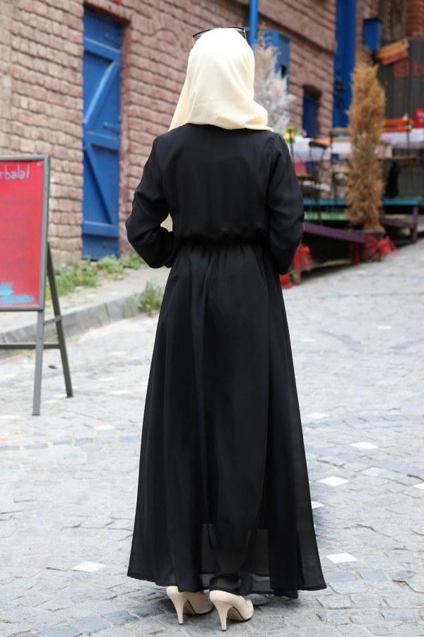 Kruvaze Yaka Şifon Elbise 3010-01