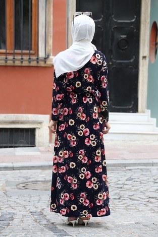 Çiçek Desenli Elbise 8508-202 Lacivert - Thumbnail