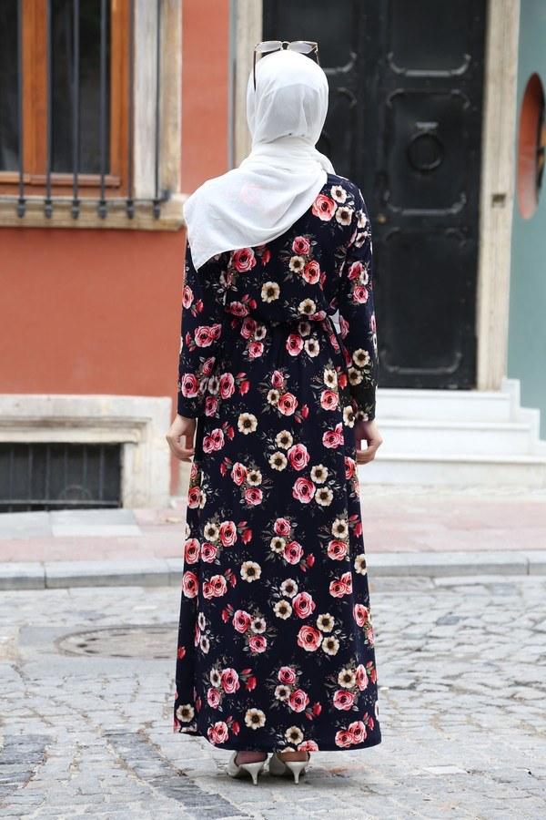 Çiçek Desenli Elbise 8508-202 Lacivert