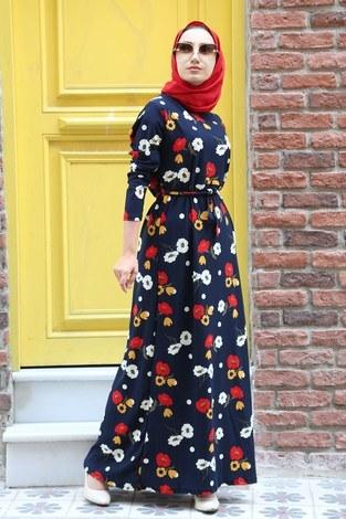 Çiçek Desenli Elbise 8508-203 Lacivert - Thumbnail
