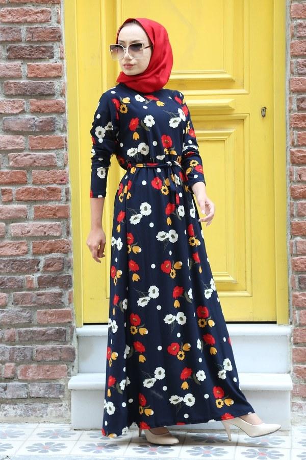 Çiçek Desenli Elbise 8508-203 Lacivert