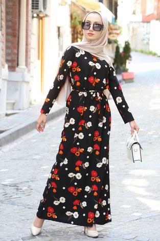Çiçek Desenli Elbise 8508-204 Siyah - Thumbnail