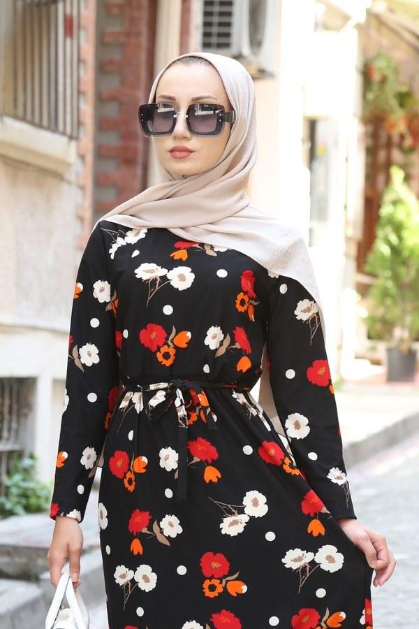 Çiçek Desenli Elbise 8508-204 Siyah