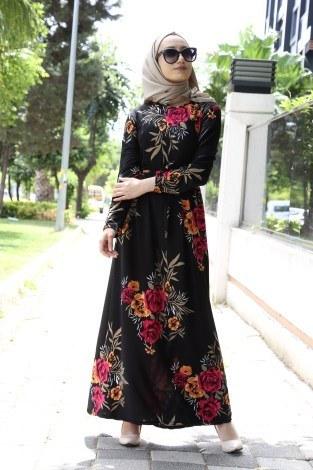 - Çiçek Desenli Elbise 8508-25