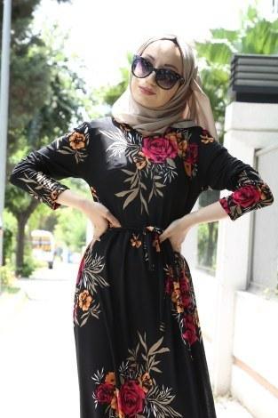 - Çiçek Desenli Elbise 8508-25 (1)