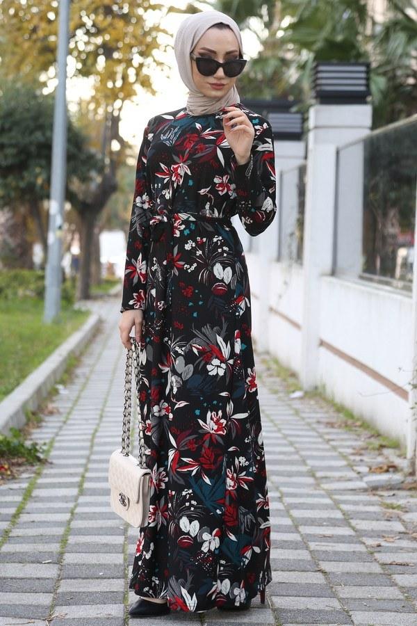 Çiçek Desenli Elbise 8508-255