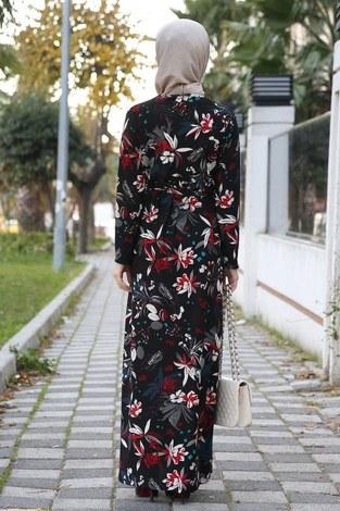 Çiçek Desenli Elbise 8508-255 - Thumbnail