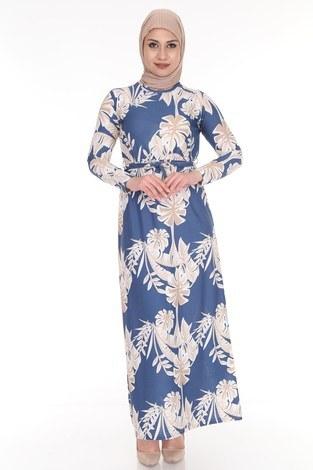 - Çiçek Desenli Elbise 8508-376