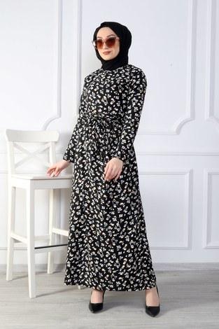- Çiçek Desenli Elbise 8508-379