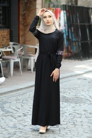- Pul Payet Detaylı Elbise 4937-01