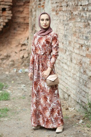 - Çiçek Desenli Elbise 8508-62