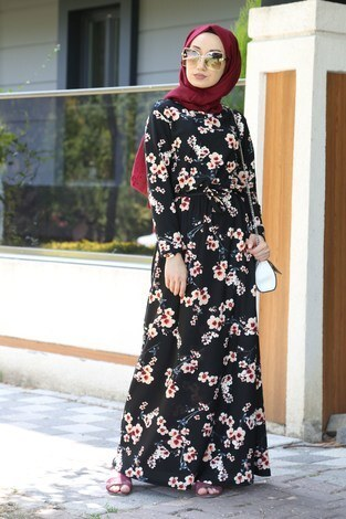 - Çiçek Desenli Elbise 8508-90