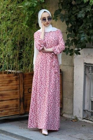 - Çiçek Desenli Elbise 5401-09