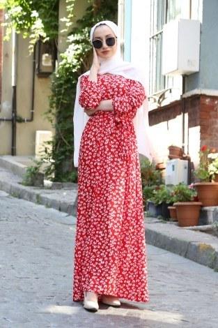 - Çiçek Desenli Elbise 5401-05