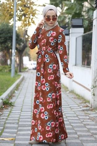 Çiçek Desenli Elbise 8508-254 - Thumbnail
