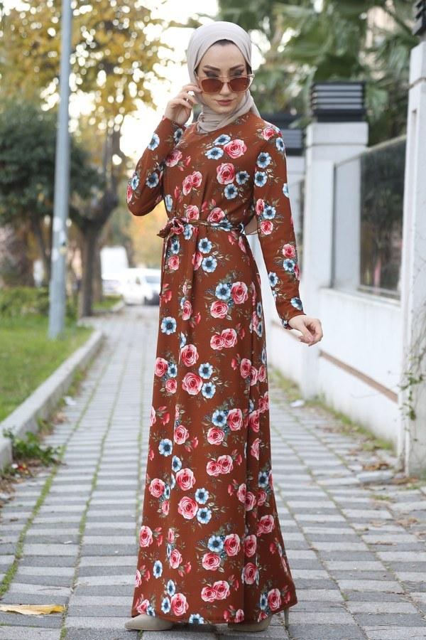 Çiçek Desenli Elbise 8508-254