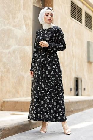 - Çiçek Desenli Elbise 8508-401