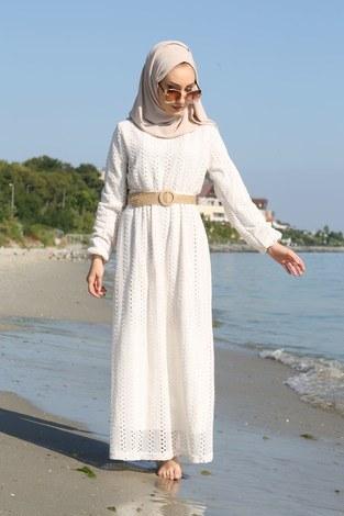 - Hasır Kemerli Dantel Elbise 7229-14 (1)