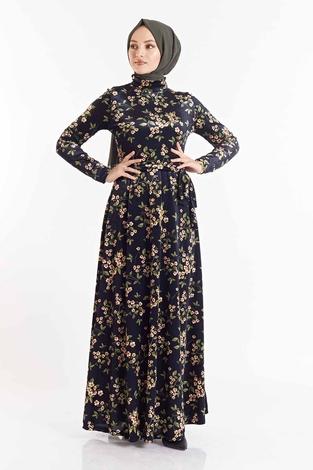 SB - Çiçek Desenli Kadife Elbise 180SB8818 Lacivert-Sarı (1)