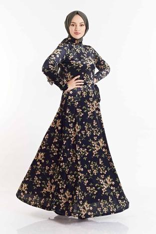 SB - Çiçek Desenli Kadife Elbise 180SB8818 Lacivert-Sarı