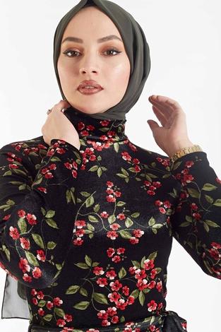 SB - Çiçek Desenli Kadife Elbise 180SB8818 Siyah-haki (1)