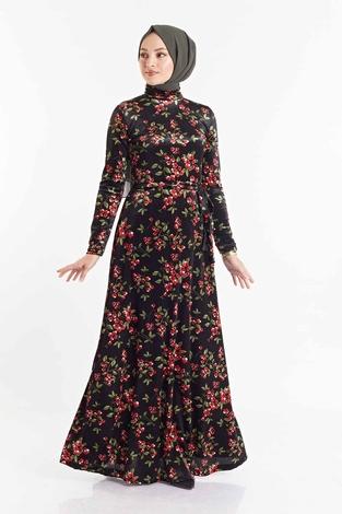 SB - Çiçek Desenli Kadife Elbise 180SB8818 Siyah-haki