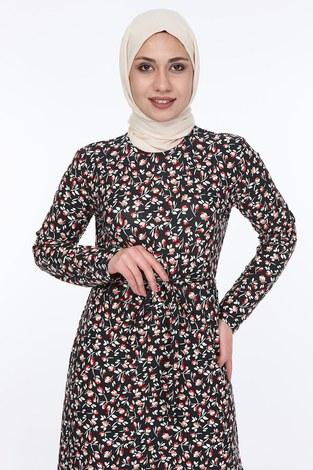 - Çiçek Desenli Kuşaklı Elbise 14350-4 (1)