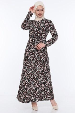 - Çiçek Desenli Kuşaklı Elbise 14350-4